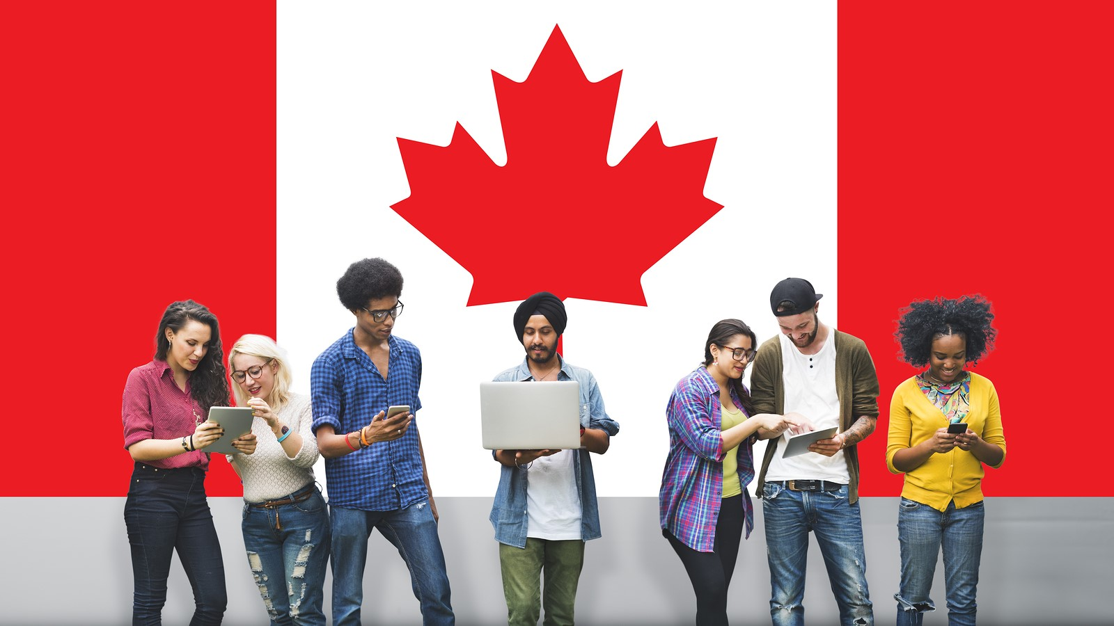 Canada National Flag Studying Diversity Students Concept